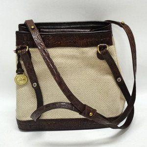 Brahmin Brown Leather & Tan Weave Satchel